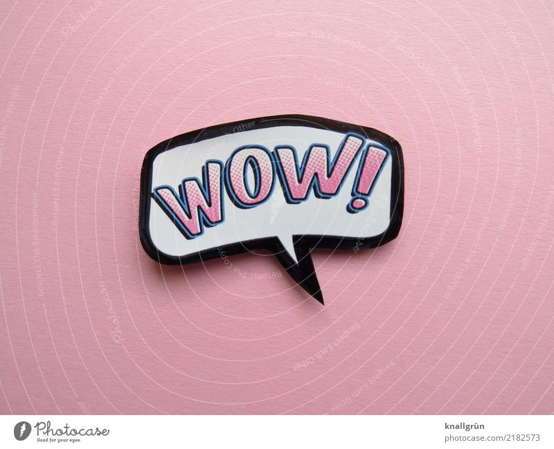 WOW! Characters Signs and labeling Communicate Pink Black White Emotions Joy Joie de vivre (Vitality) Enthusiasm Surprise wow Exclamation Exclamation mark