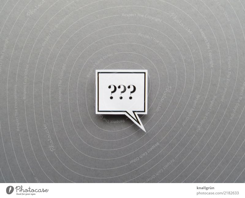 Three question marks in a square speech bubble Question mark Speech bubble Communicate puzzling Ask Neutral Background Sign Characters Colour photo