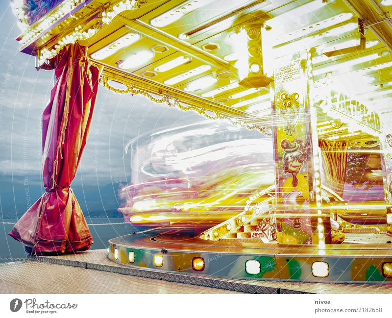 merry-go-round Vacation & Travel Tourism Entertainment Feasts & Celebrations Oktoberfest Small Town Carousel Metal Plastic Rotate Driving Glittering Happiness