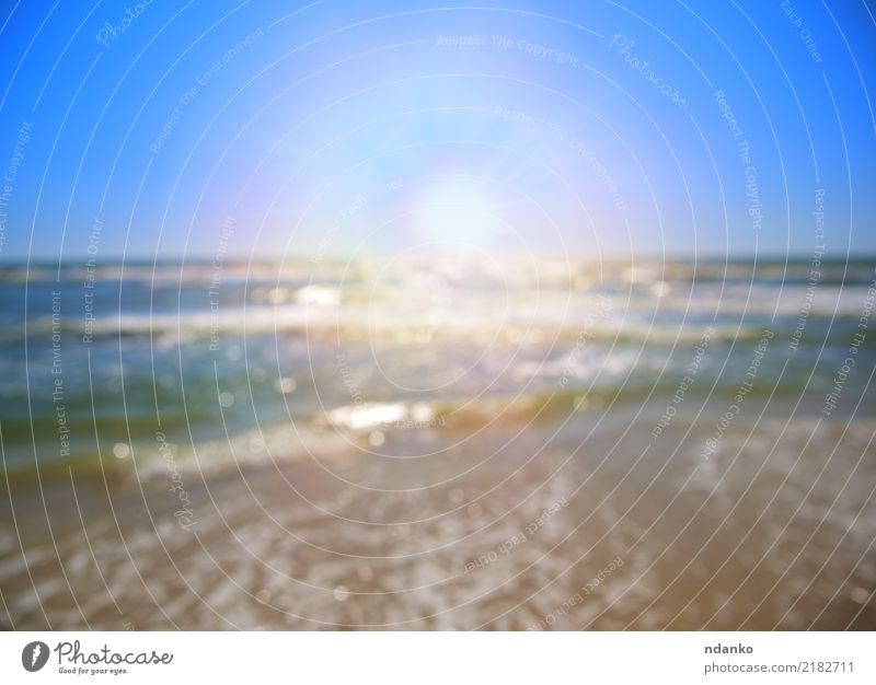 view of the sea with a bright sun Relaxation Vacation & Travel Summer Sun Beach Ocean Nature Landscape Sand Sky Coast Line Blue White Tropical sunny foam