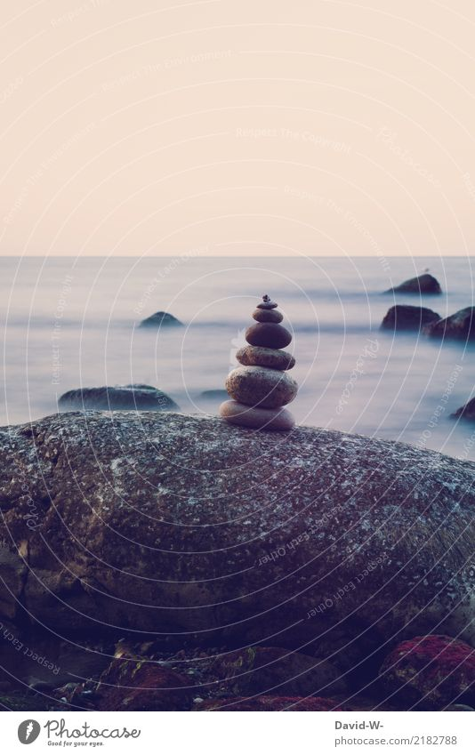 stone balance Art Artist Work of art Painting and drawing (object) Sculpture Environment Nature Landscape Water Climate Climate change Bay Reef North Sea