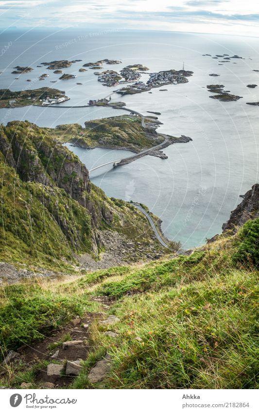 Henningsvær, bird's eye view, Lofoten, archipelago, panorama Harmonious Trip Adventure Far-off places Climbing Mountaineering Environment Nature Landscape