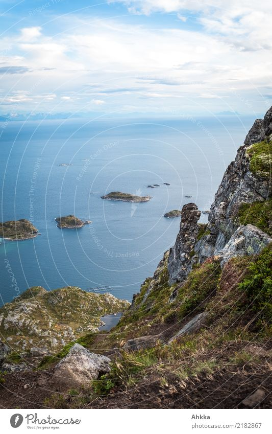 Panorama of an island landscape on the Lofoten Islands Vacation & Travel Adventure Far-off places Freedom Landscape Beautiful weather Mountain Coast Ocean