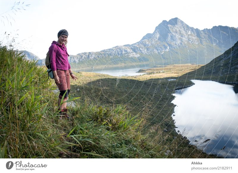 Young woman, Fjord, Lofoten, Hiking, Discovering Life Calm Vacation & Travel Trip Adventure Far-off places Freedom Youth (Young adults) Nature Landscape