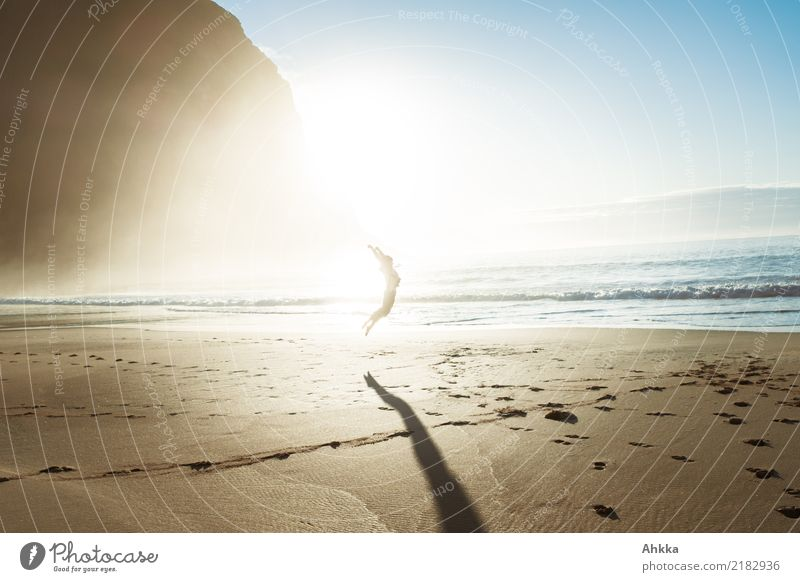 sun worship ritual Athletic Fitness Life Well-being 1 Human being Nature Landscape Sun Beautiful weather Fog Mountain Beach Ocean Lofotes Jump Happy Happiness