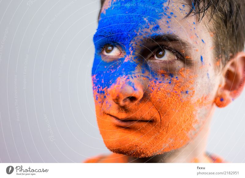 Man with Holi powder in face Youth (Young adults) Holi Kino Cinema Powder Colour Dye Face Orange Blue Shadow Feasts & Celebrations Painted