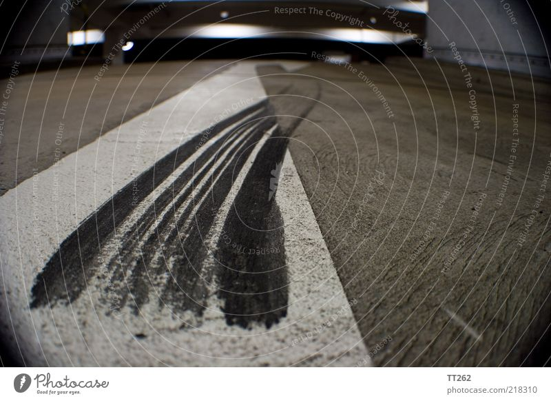 whacky Transport Traffic infrastructure Motoring Street Concrete Arrow Stripe Dirty Gray Black White Fear Chaos Safety Colour photo Close-up Detail