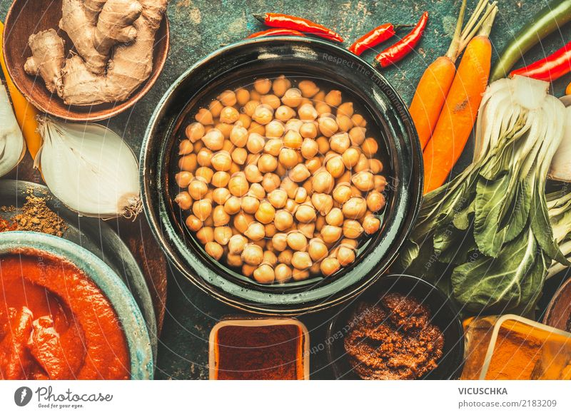 Chick peas with vegetarian cooking ingredients. Food Vegetable Grain Herbs and spices Nutrition Lunch Organic produce Vegetarian diet Diet Asian Food Crockery