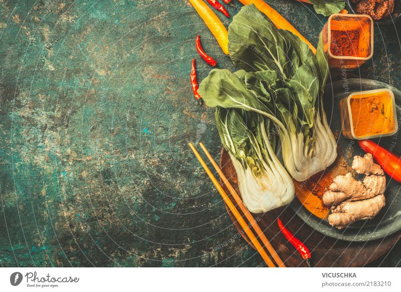 Asian cooking ingredients with Pak Choi and spices Food Vegetable Herbs and spices Cooking oil Nutrition Asian Food Crockery Plate Bowl Style Design