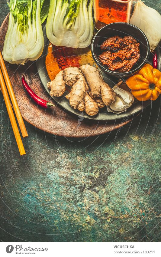 Cooking ingredients for Asian cuisine Food Vegetable Herbs and spices Nutrition Organic produce Vegetarian diet Diet Asian Food Crockery Plate Style Design