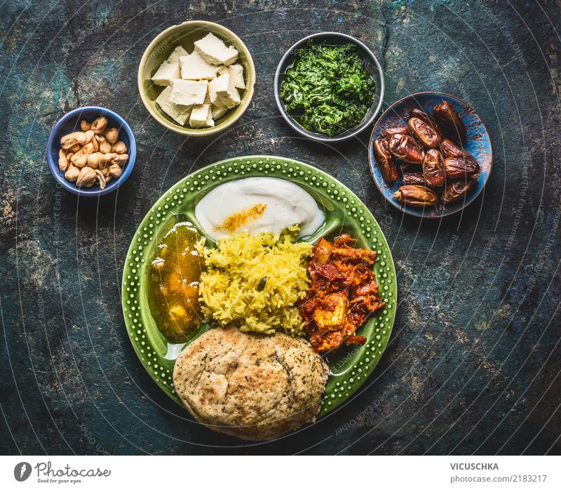 Indian food in bowls Food Nutrition Lunch Dinner Asian Food Crockery Style Design Healthy Eating Restaurant Dish Tangy Curry powder Bowl Food photograph