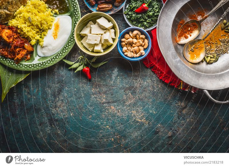 Indian food Food Cheese Yoghurt Vegetable Grain Herbs and spices Cooking oil Nutrition Lunch Banquet Organic produce Vegetarian diet Diet Asian Food Crockery