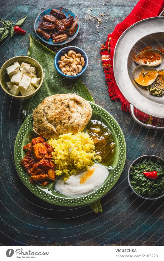 Indian food Food Vegetable Grain Herbs and spices Nutrition Lunch Organic produce Vegetarian diet Diet Asian Food Crockery Plate Bowl Healthy Eating Restaurant