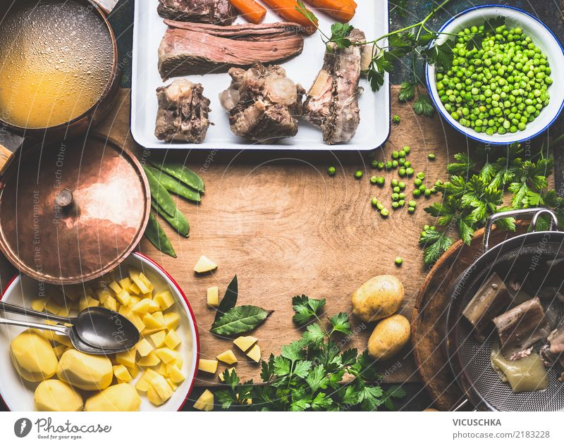 Potato soup with green peas and meat Food Meat Vegetable Soup Stew Herbs and spices Nutrition Lunch Dinner Slow food Crockery Bowl Spoon Lifestyle Design Style
