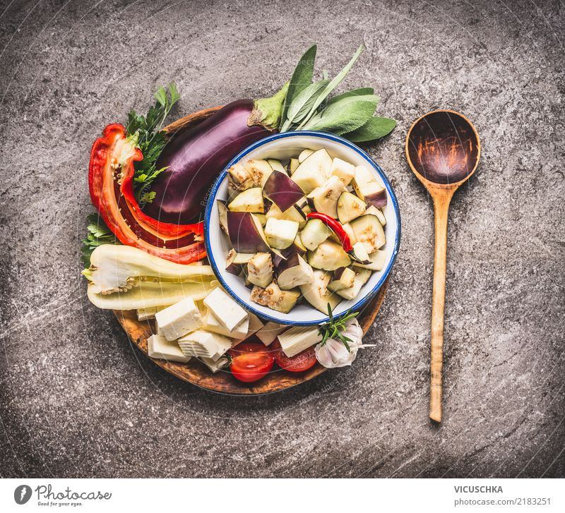 Aubergines and peppers for vegetarian dishes Vegetable Lettuce Salad Herbs and spices Nutrition Organic produce Vegetarian diet Diet Bowl Spoon Style Design