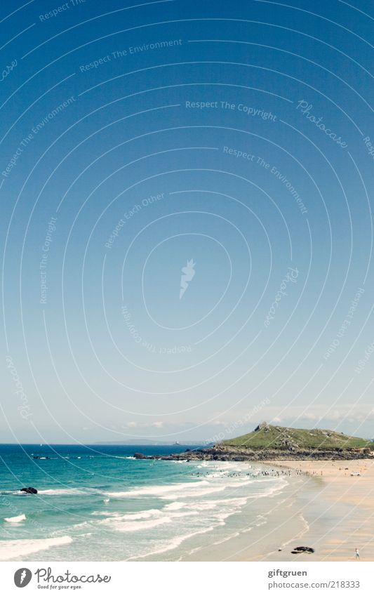boundless blue Environment Nature Landscape Elements Sand Water Sky Cloudless sky Climate Beautiful weather Waves Coast Beach Bay Ocean Island Sandy beach