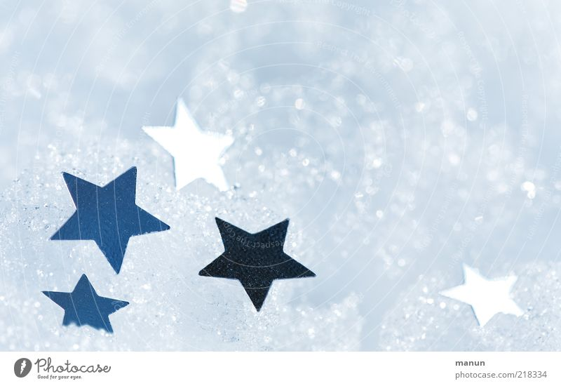 snow stars Decoration Feasts & Celebrations New Year's Eve Festive Christmas decoration Christmas star Star (Symbol) Sign Glittering Illuminate Bright