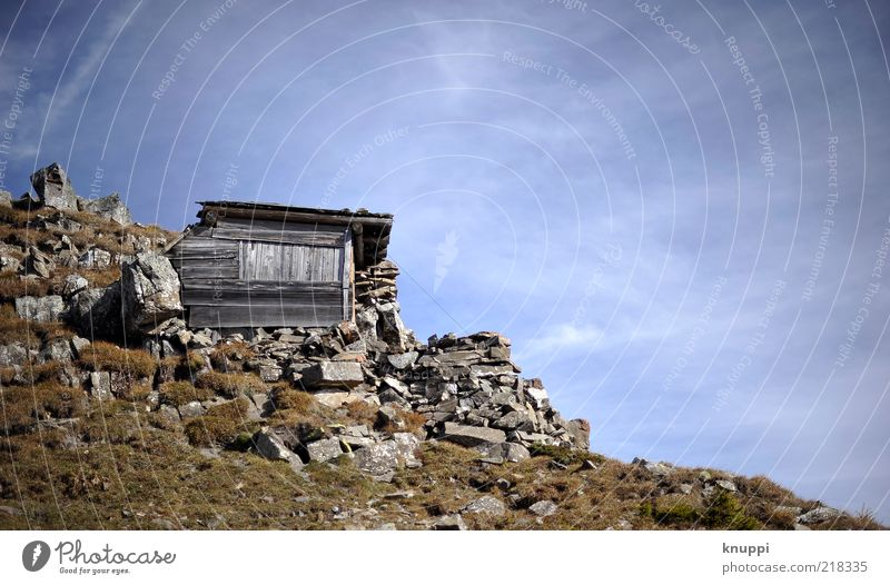 Sky Nature Blue Calm Loneliness House (Residential Structure) Autumn Environment Mountain Wood Gray Grass Stone Brown Rock Trip