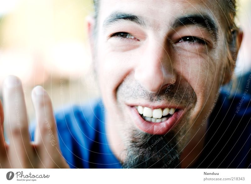 Humorous topics Human being Masculine Adults Face 1 30 - 45 years Facial hair To talk Smiling Laughter Authentic Happy Emotions Joy Happiness Self-confident