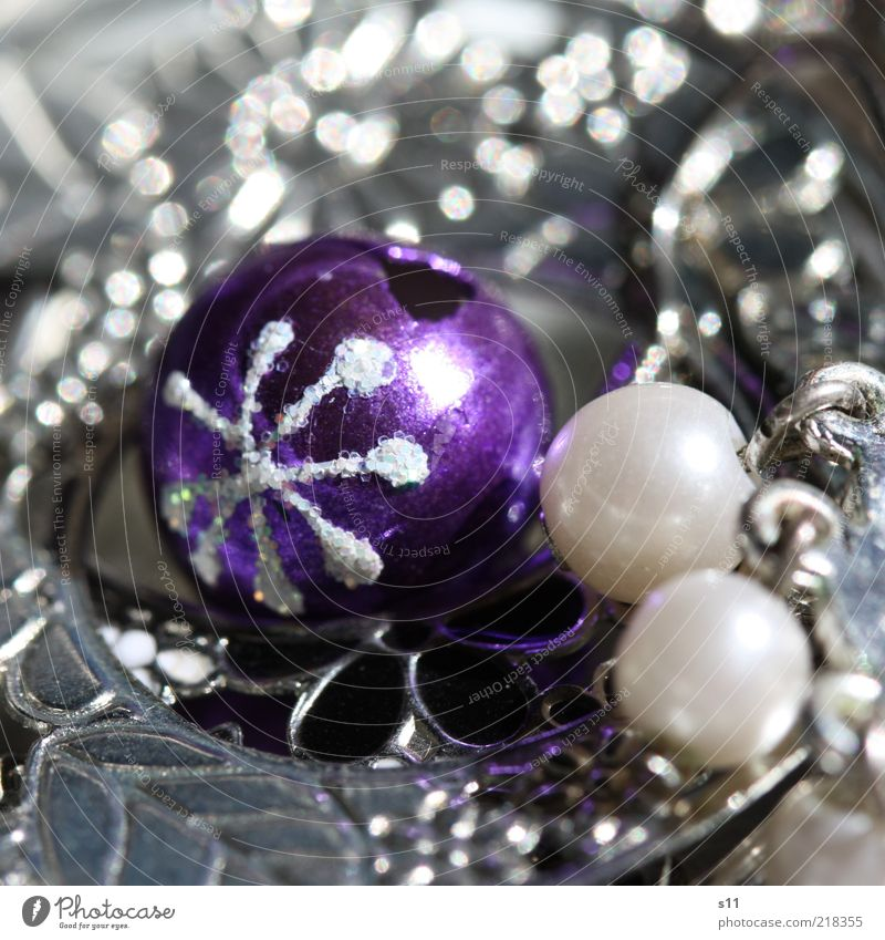 Christmas Ornaments Steel Sphere Elegant Brash Earring Pearl Jewelry box Christmas & Advent Ice crystal Glittering Jewellery Violet Silver Bell Colour photo