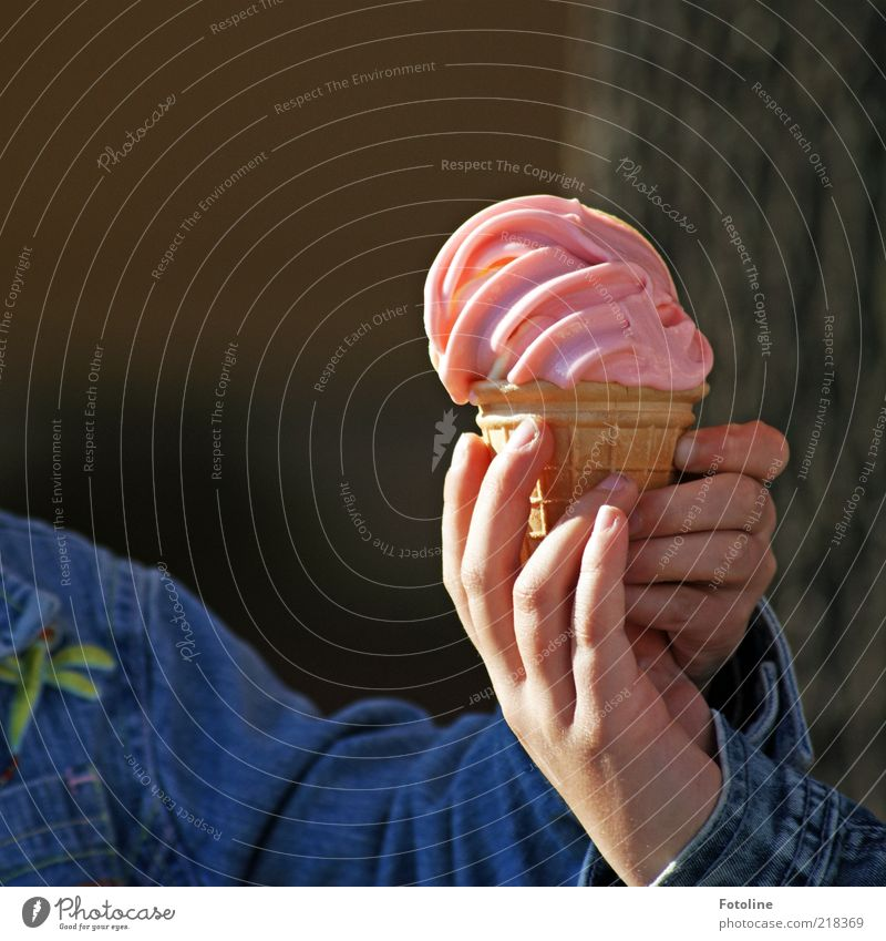 Human being Hand Cold Bright Arm Pink Fingers Ice cream Infancy To hold on Denim Give Take Children`s hand Ice-cream cone Soft ice cream