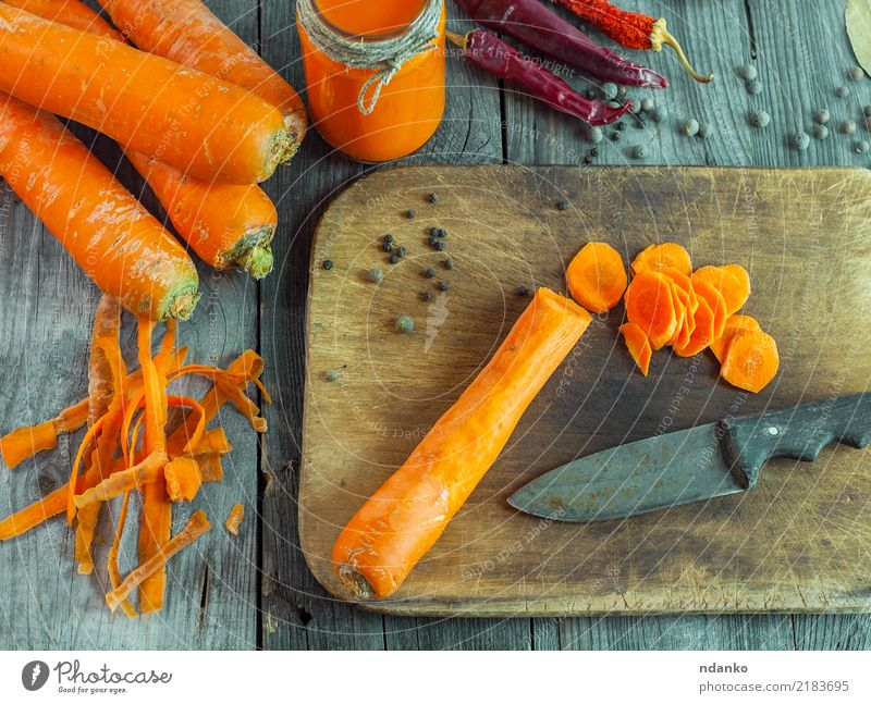 peeled fresh carrots Vegetable Nutrition Vegetarian diet Diet Juice Table Nature Tin Wood Fresh Natural Carrot background food healthy orange Organic