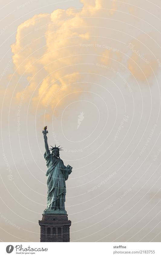 freedom New York City USA Town Tourist Attraction Landmark Statue of Liberty Freedom Peace Clouds Torch Smoke cloud Colour photo Exterior shot Deserted