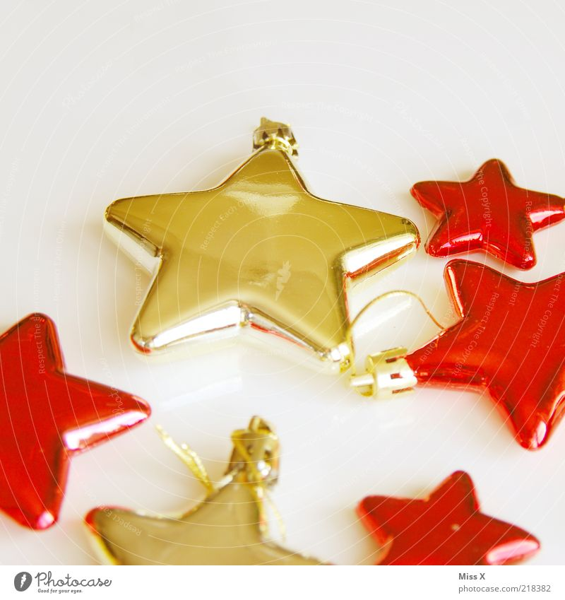 Christmas & Advent Red Glittering Gold Star (Symbol) Decoration Fragile Sharp-edged Christmas decoration Christmas star Christmas tree decorations
