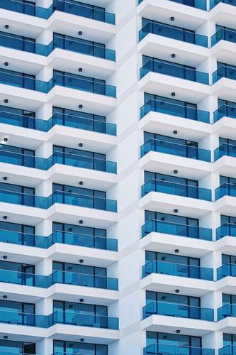 High-rise Building Facade Flat (apartment) House (Residential Structure) Architecture Balcony Modern New exterior building outwall Domicile Accommodation