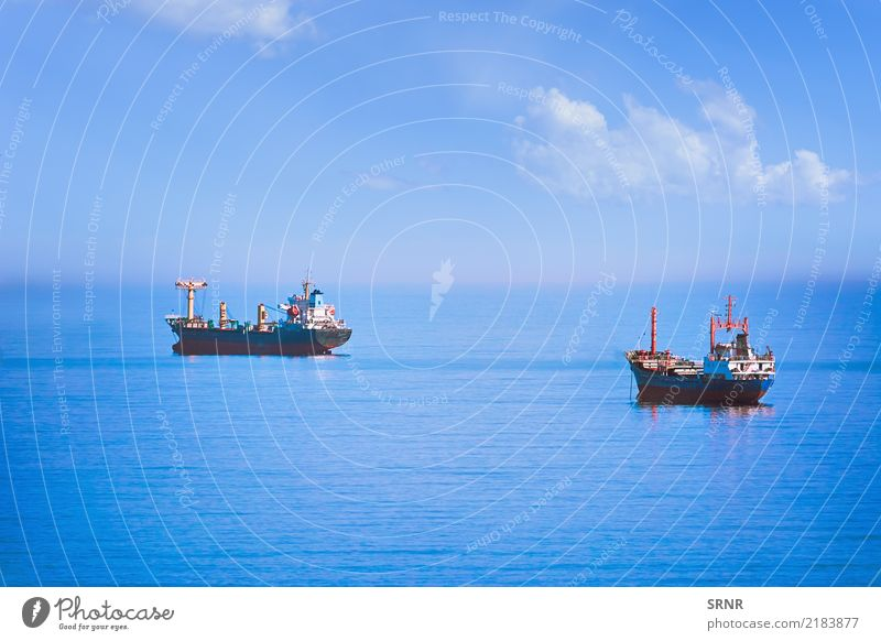 Cargo Ships in the Sea Ocean Sailing Nature Water Horizon Transport Watercraft Maritime anchorage bulk carrier bulk-carrier bulker roadstead lie out Aquatic