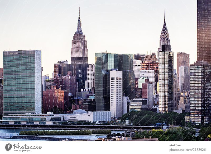 from Queens 11 New York City USA Manhattan High-rise Skyline Summer City life Back-light Chrysler Building Empire State building United Nations