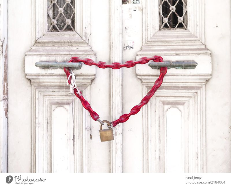 Closed for love Old town House (Residential Structure) Facade Door Chain Lock bicycle lock Heart Love Sex Wait Eroticism Together Happy Town Red Infatuation