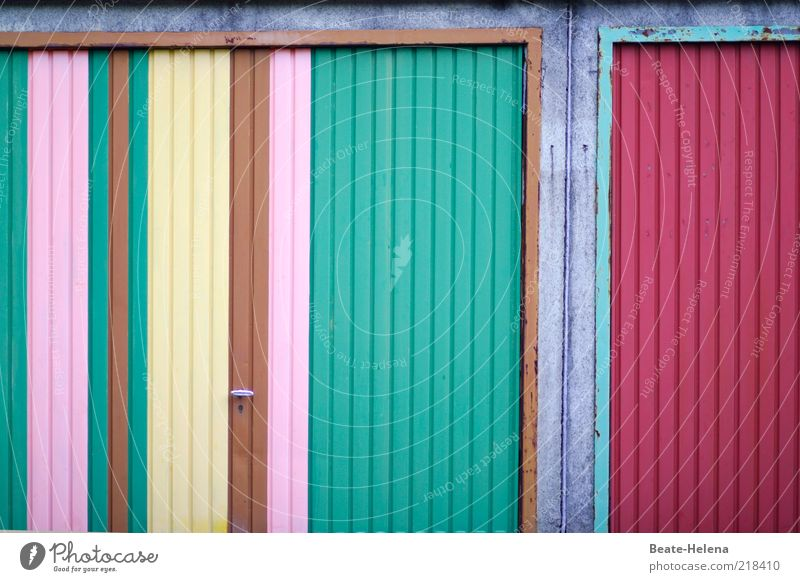 Joy Emotions Metal Facade Happiness Lifestyle Exceptional Friendliness Painting and drawing (object) Striped Garage Copy Space Patch of colour Art Varnished Garage door