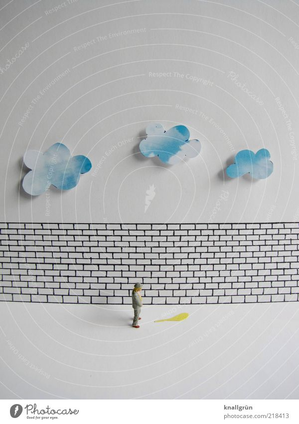 Human being Man Blue White Clouds Black Adults Yellow Wall (building) Wall (barrier) Art Wet Masculine Free Stand To hold on