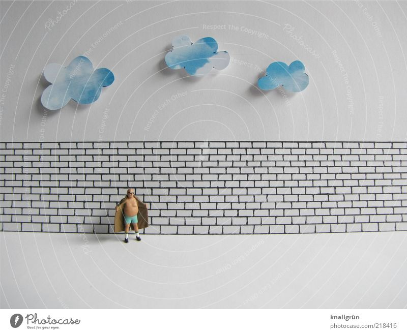 Human being Man White Blue Black Clouds Wall (building) Wall (barrier) Brown Wait Adults Masculine Stand Symbols and metaphors Illustration