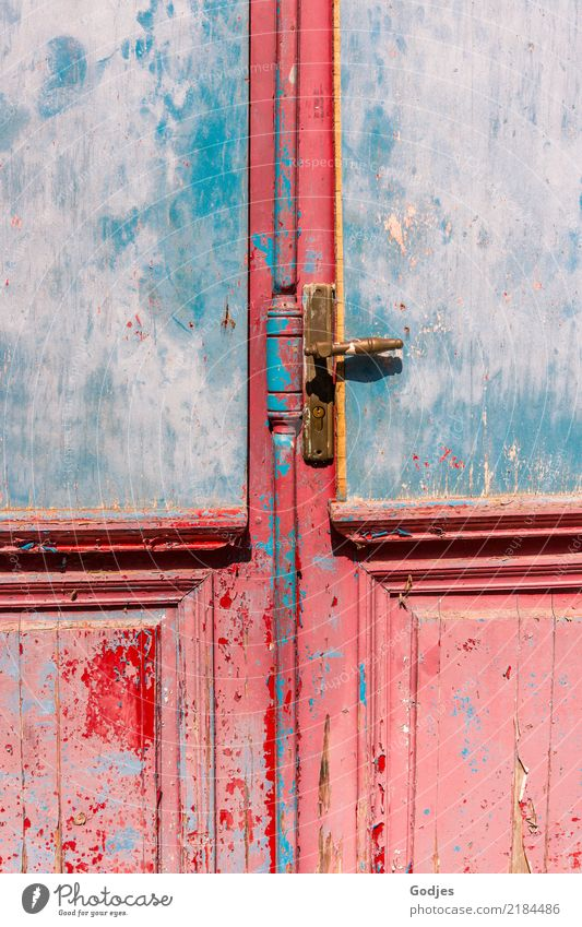closed door liapades Corfu Village Deserted Architecture Door Door handle Historic Beautiful Uniqueness Broken Curiosity Blue Brown Orange Pink Red Safety