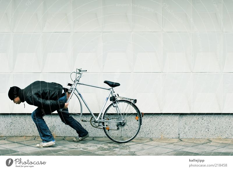 Human being Man Adults Life Funny Bicycle Masculine Broken Effort Cycling Joke Carrying Pedestrian Pull Thief Lose
