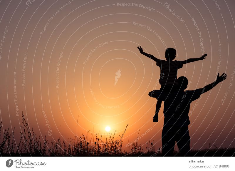 Father and son playing in the park at the sunset time. Child Human being Nature Vacation & Travel Man Summer Sun Hand Joy Adults Lifestyle Sports Boy (child)