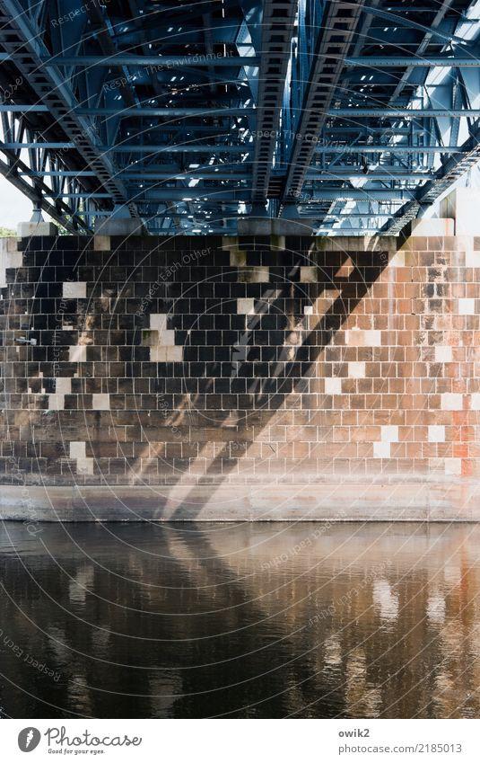 interior life Water River Elbe Meissen Germany Small Town Bridge Firm Large Metal Stone Bridge pier Bulky Stability Flow Elbbrücke Colour photo Subdued colour