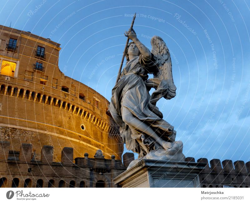 Angel with lance in front of the angel castle Bernini Tiber Rome Italy Europe Town Capital city Downtown Castle Bridge Architecture Wall (barrier)