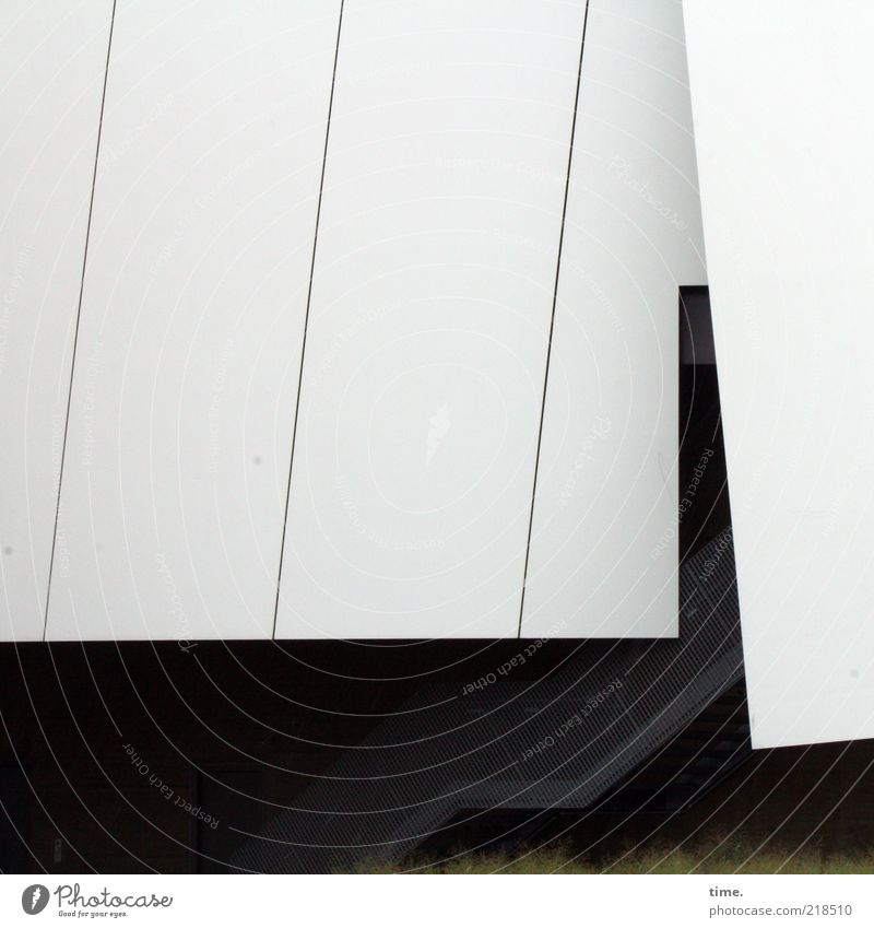 pleated skirt Art Museum Work of art Building Architecture Stairs Roof Exceptional White Entrance Parallel Diagonal Deserted Cladding Modern architecture