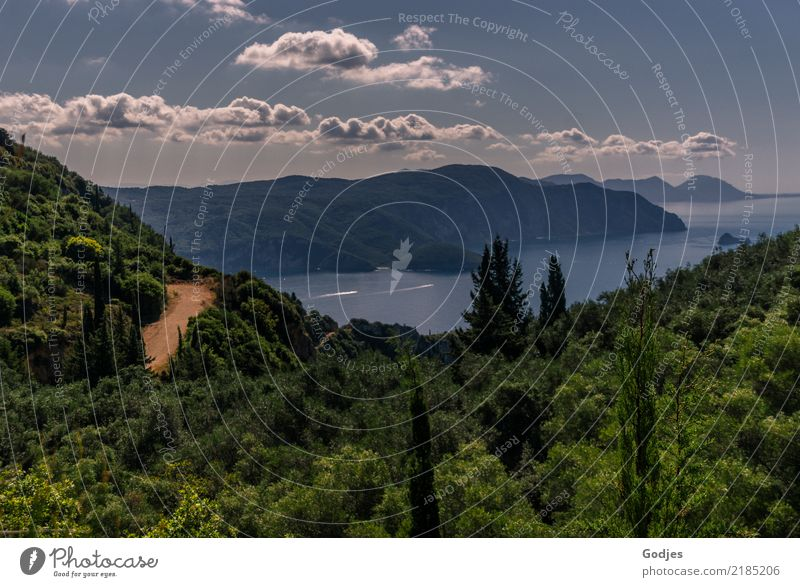 View from Angelokastro II Nature Landscape Plant Water Sky Clouds Horizon Summer Tree Bushes Hill Coast Bay Corfu Tourist Attraction Discover Relaxation