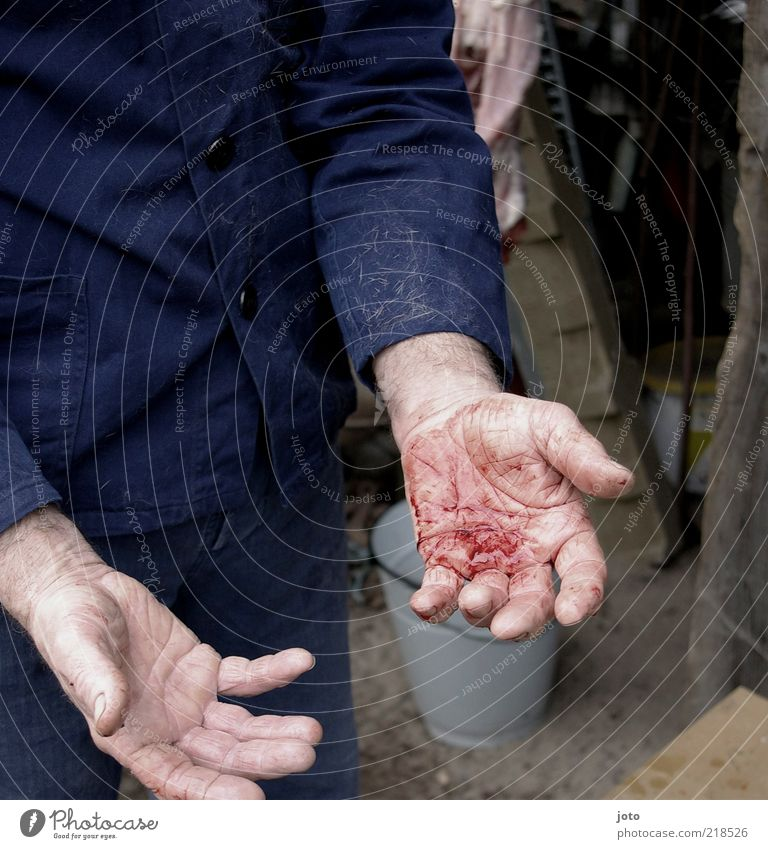 Man Hand Emotions Dirty Adults Masculine Craft (trade) Pain Blood Murder Kill Criminal Clue Assassin Guilty