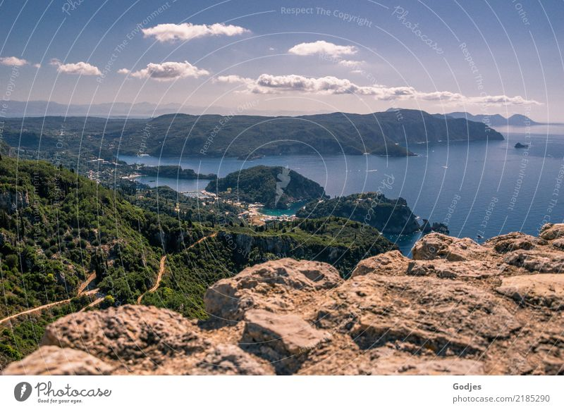 View from Angelokastro IV Nature Landscape Water Sky Clouds Horizon Summer Tree Hill Rock Mountain Coast Bay Island Corfu Castle Wall (barrier) Wall (building)