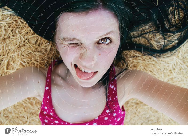 Crazy self-portrait of a young woman Human being Youth (Young adults) Young woman Summer Beautiful Joy 18 - 30 years Black Face Adults Yellow Lifestyle Funny