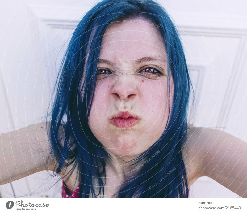 Young angry woman with blue hair Human being Youth (Young adults) Young woman Blue White 18 - 30 years Face Adults Lifestyle Feminine Hair and hairstyles Pink
