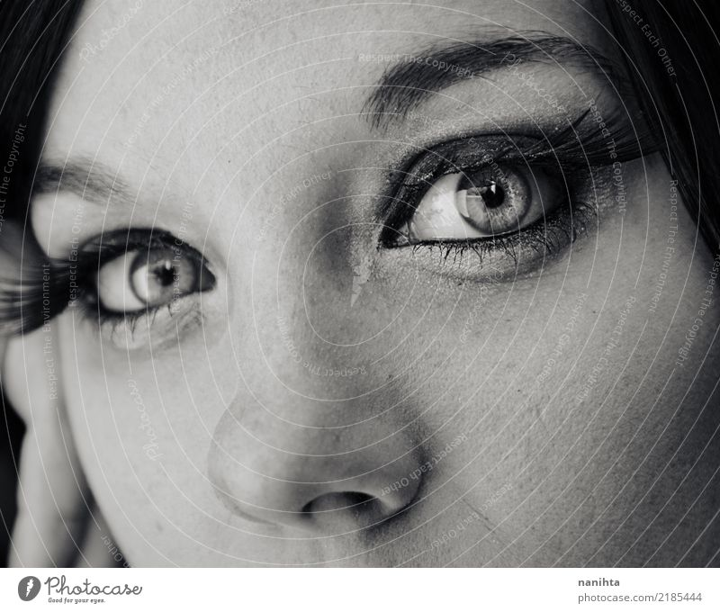 Close up of the beautiful eyes of a young woman Elegant Style Beautiful Skin Face Make-up Mascara Human being Feminine Young woman Youth (Young adults) Eyes