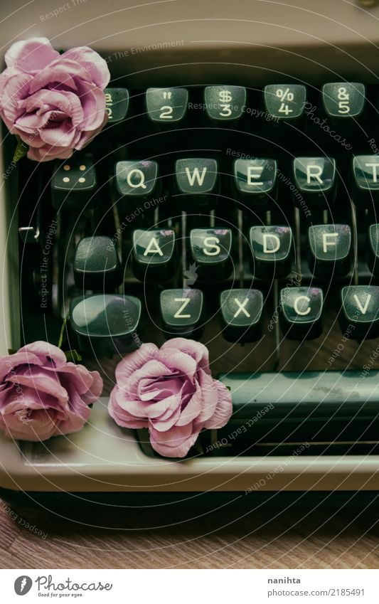 Vintage typewriter with paper roses Old Beautiful Flower Art Time Brown Pink Design Work and employment Keyword Characters Retro Creativity Culture Historic