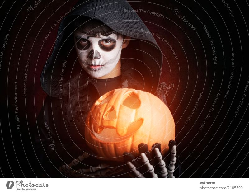 Boy in Halloween.Boy dressed as a skeleton Child Human being Vacation & Travel Loneliness Dark Religion and faith Lifestyle Emotions Death Party