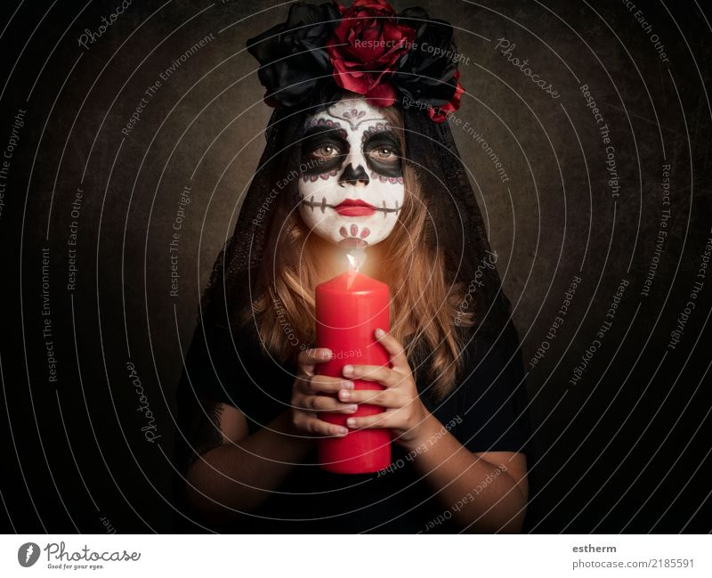 girl in halloween costume Human being Feminine Girl Infancy 1 3 - 8 years Child Candle Movement Feasts & Celebrations Smiling Vacation & Travel Dream Dark
